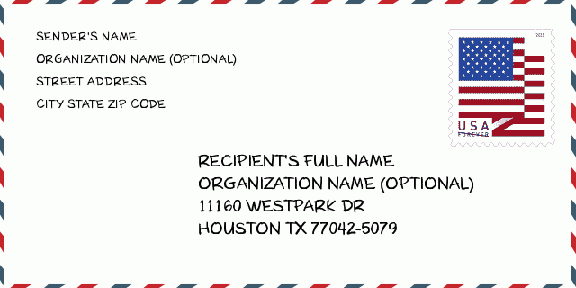 Address: 11160 WESTPARK DR , HOUSTON, TX 77042-5079, USA | Texas United  States ZIP Code 5 Plus 4 ✉️